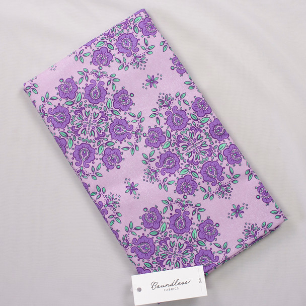 Boundless Quilter's Cotton Emblem Lavender (Bargain 3y Cut) Fabric By The Yard