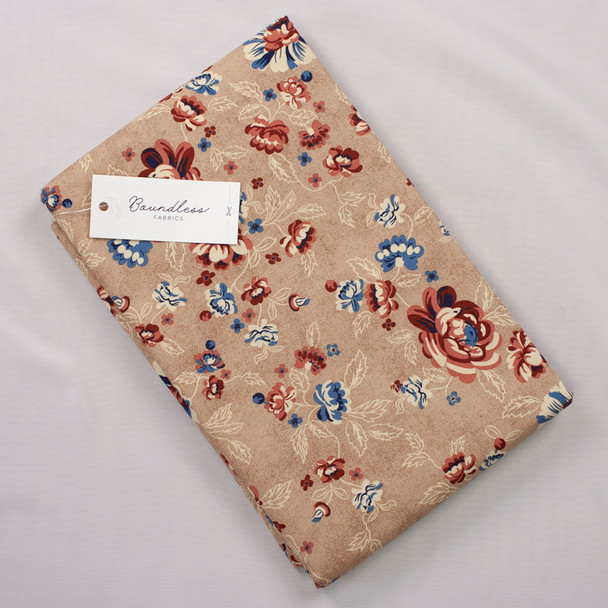 Boundless Quilter's Cotton Main Floral Beige (Bargain 4y Cut) Fabric By The Yard