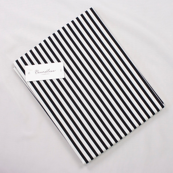 Boundless Quilter's Cotton Black and White Stripe (Bargain 2y Cut) Fabric By The Yard