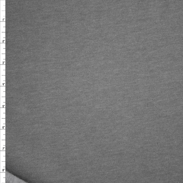 Medium Grey Poly/Cotton Sweatshirt Fleece Fabric By The Yard