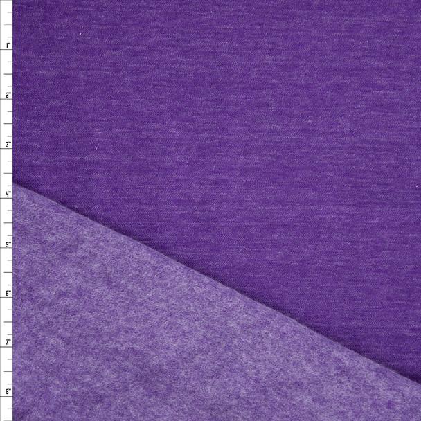 Purple Heather Poly/Cotton Sweatshirt Fleece Fabric By The Yard