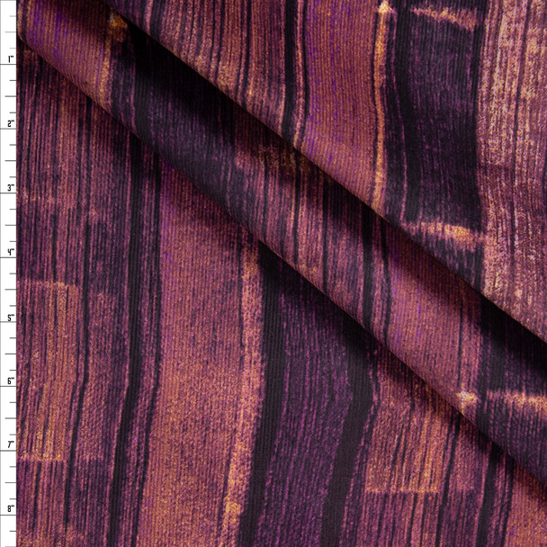 Wine and Ivory Vertical Brushstroke Grunge Stretch Baby Wale Corduroy Fabric By The Yard