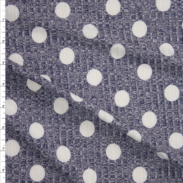 White Dots on Heather Navy Ribbed Sweater Knit Fabric By The Yard