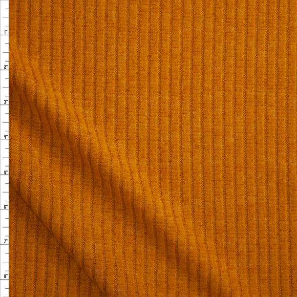 Mustard Brushed Wide Rib Sweater Knit Fabric By The Yard