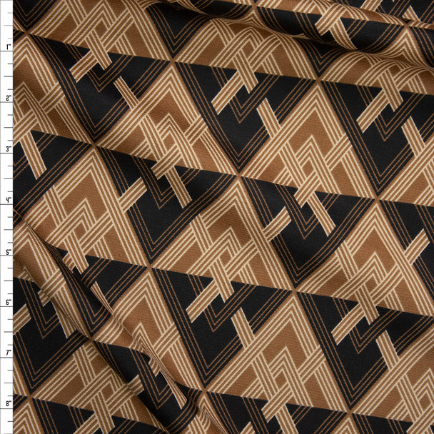 Black and Tan Diamond Pattern Ponte De Roma Fabric By The Yard