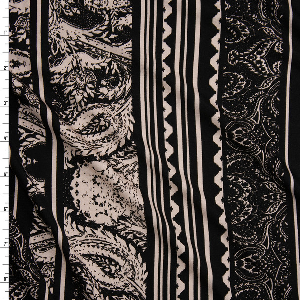 Ivory and Black Vertical Paisley Stripe Stretch Rayon Jersey Fabric By The Yard