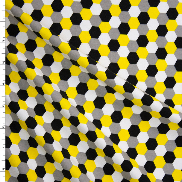 Black, Yellow, Grey, and White Hex Pattern Laguna Cotton/Spandex from Robert Kaufman Fabric By The Yard