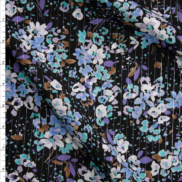 Lavender, Aqua, Light Blue, and White Floral on Black with Metallic Silver Pinstripes Cotton Lawn Fabric By The Yard