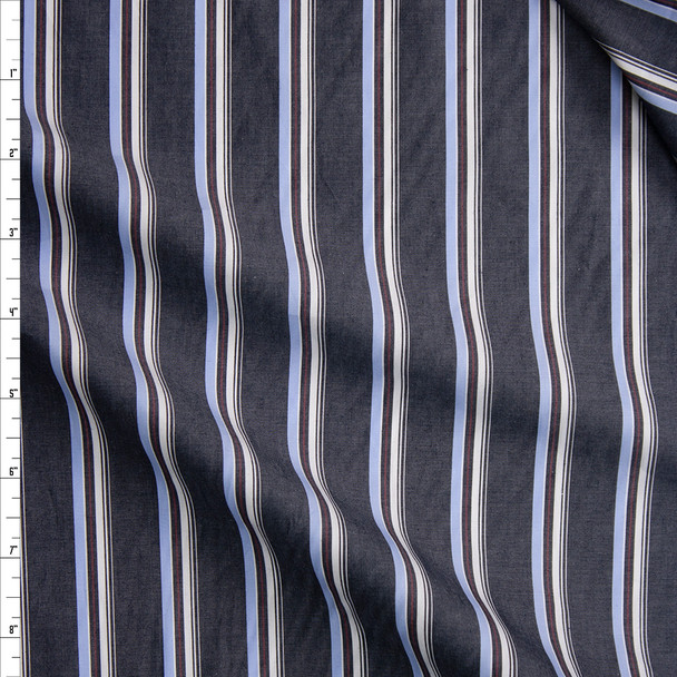 Charcoal, White, Red, and Blue Vertical Stripe Fine Cotton Shirting Fabric By The Yard