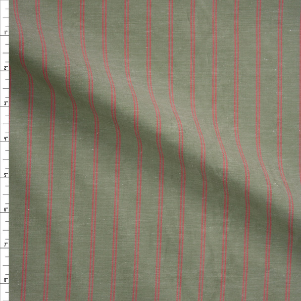 Red Double Pinstripe on Sage Green Fine Cotton Shirting Fabric By The Yard
