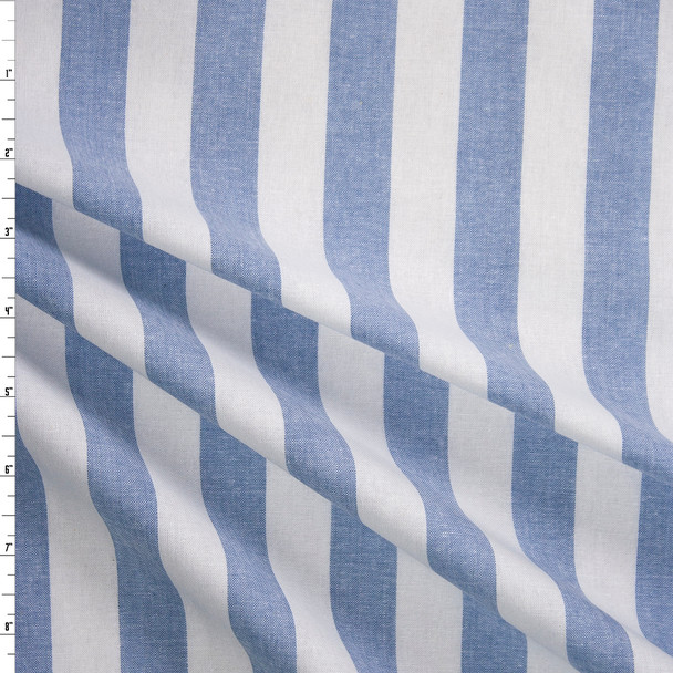 Light Blue and White Stripe Chambray Fabric By The Yard