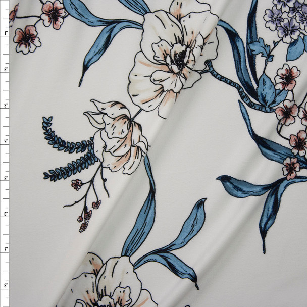 Teal, Pink, and Ivory Floral on Warm White Double Brushed Poly Spandex Knit Fabric By The Yard