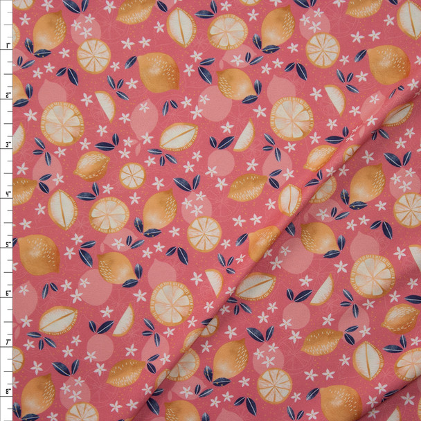 Lemons on Pink Marketa Double Brushed Poly Spandex Knit Fabric By The Yard
