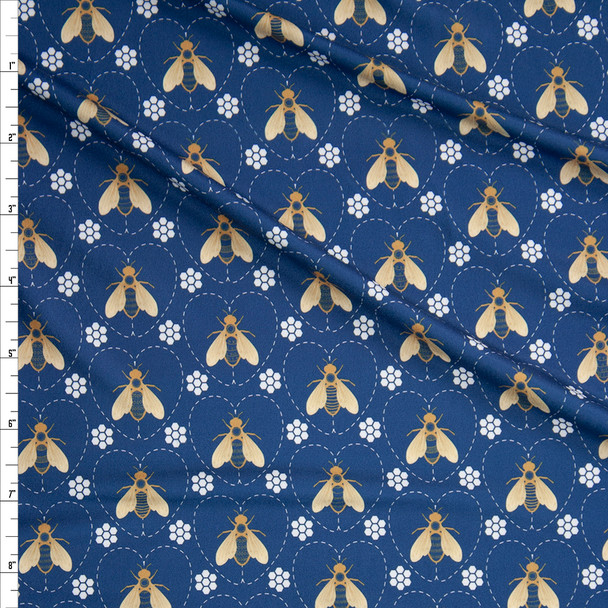 Bees and Hearts on Deep Slate Marketa Double Brushed Poly Spandex Knit Fabric By The Yard