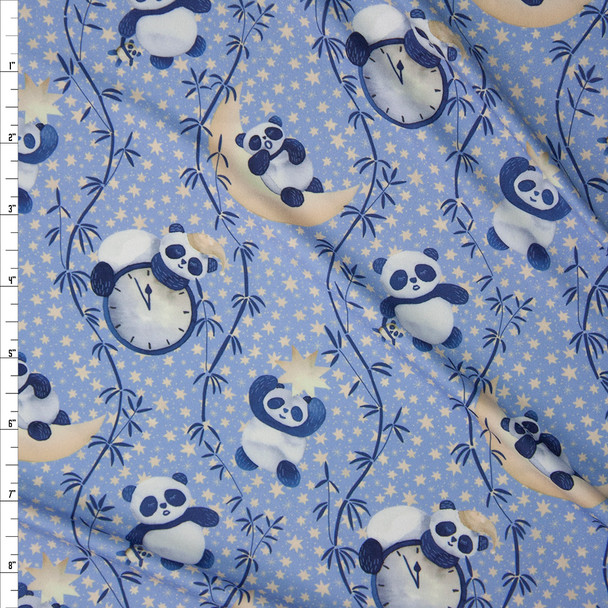 Sleepytime Pandas Light Blue Marketa Double Brushed Poly Spandex Knit Fabric By The Yard