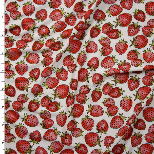 Strawberries on Warm White Marketa Double Brushed Poly Spandex Knit Fabric By The Yard