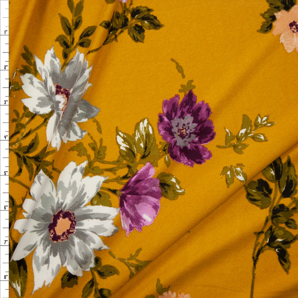 White, Olive, and Plum Floral on Mustard Double Brushed Poly Spandex Knit Fabric By The Yard