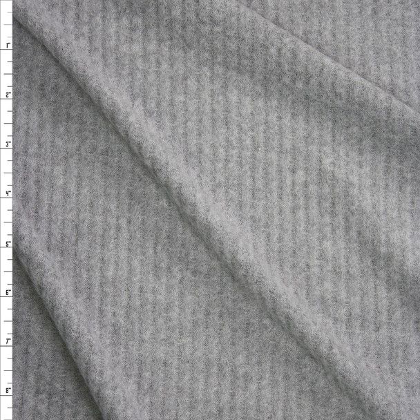 Light Grey Heather Brushed Soft Waffle Knit Fabric By The Yard
