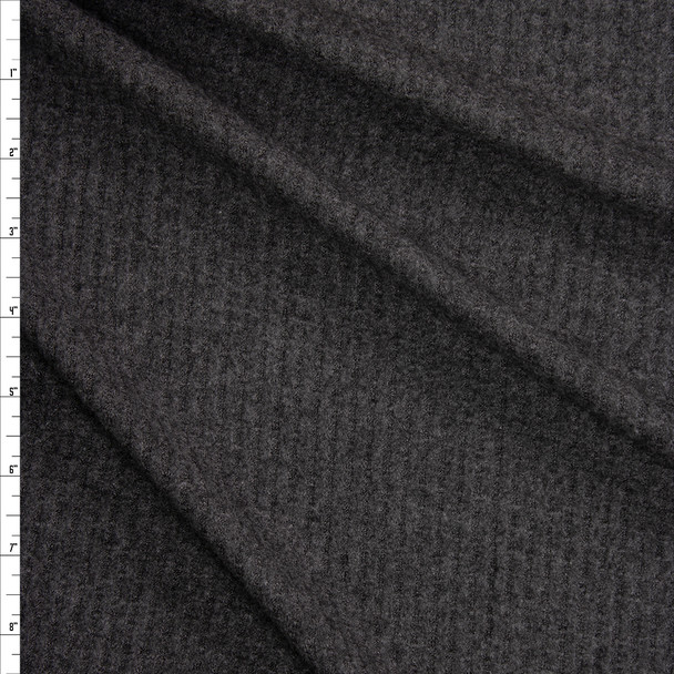 Charcoal Brushed Soft Waffle Knit Fabric By The Yard