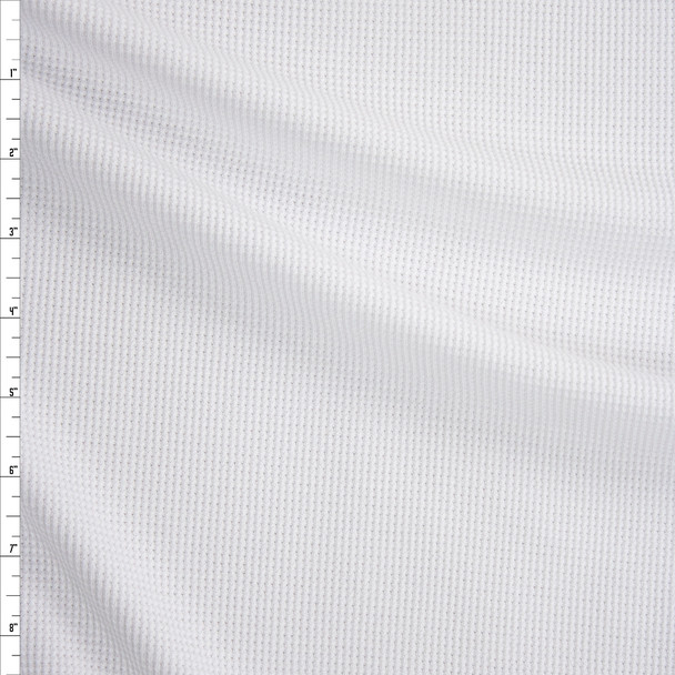 White Midweight Thermal Waffle Knit Fabric By The Yard
