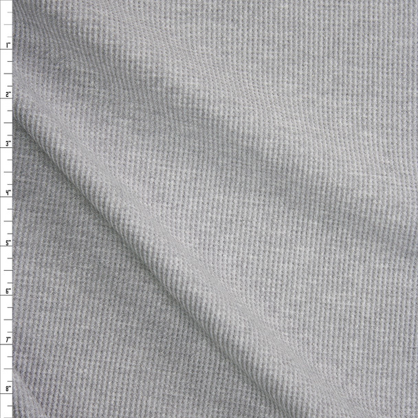 Grey Heather Midweight Thermal Waffle Knit Fabric By The Yard