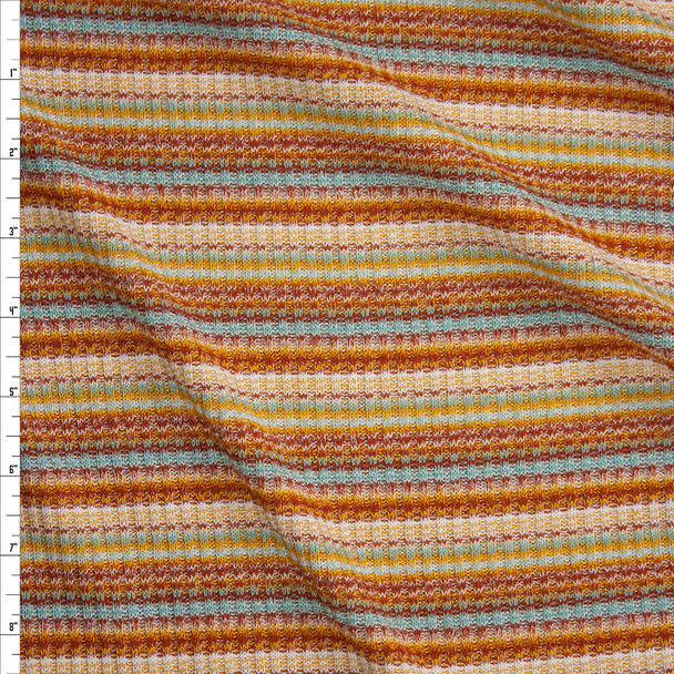 Rust, Peach, Aqua, and Ivory Horizontal Stripe Midweight Ribbed Sweater Knit Fabric By The Yard