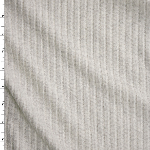 Light Grey Heather Brushed Wide Rib Midweight Sweater Knit Fabric By The Yard