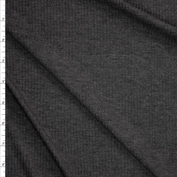 Charcoal Grey Lightweight Rib Knit Fabric By The Yard