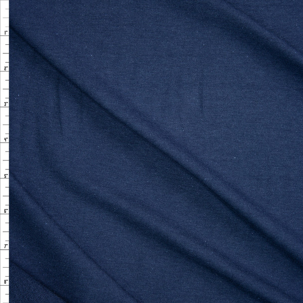 Navy Stretch Cotton French Terry Fabric By The Yard