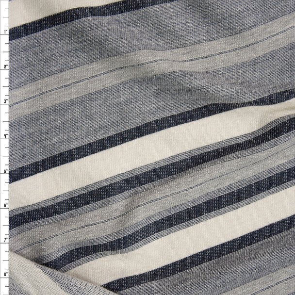 Denim Blue and Ivory Diagonal Stripe Designer French Terry Fabric By The Yard