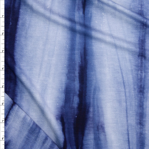 Navy and Grey Streaked Tie Dye Lightweight Rayon French Terry Fabric By The Yard