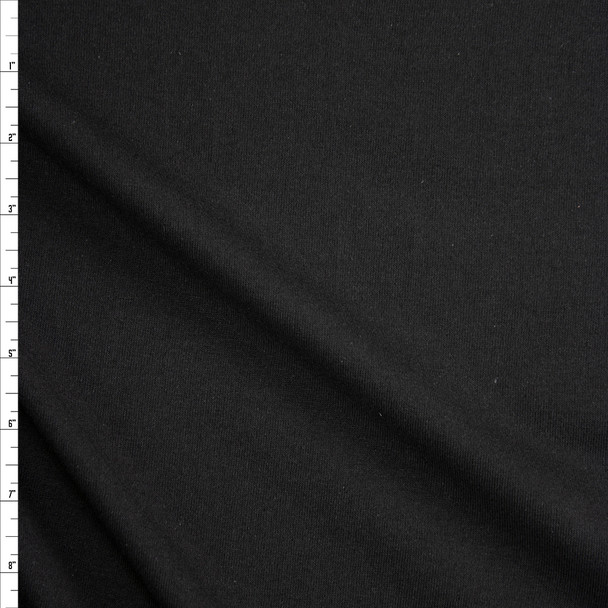 Black Midweight Cotton Knit Fabric By The Yard