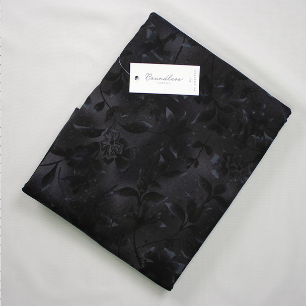 Boundless Quilter's Cotton Graphite Floral (6y Bargain Cut) Fabric By The Yard