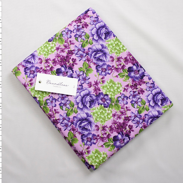 Boundless Quilter's Cotton Main Floral Violet (5y Bargain Cut) Fabric By The Yard
