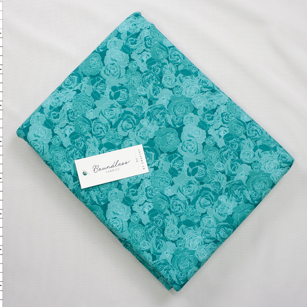 Boundless Quilter's Cotton Soft Florals Tidepool (6y Bargain Cut) Fabric By The Yard