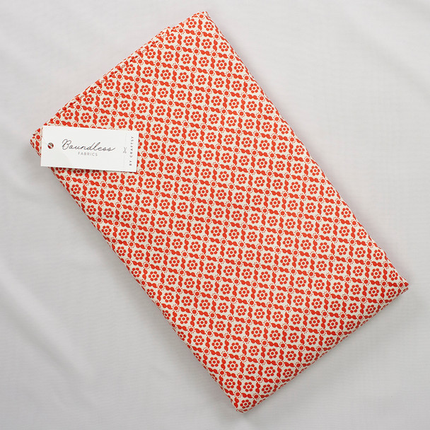 Boundless Quilter's Cotton Geo Floral Red (6y Bargain Cut) Fabric By The Yard