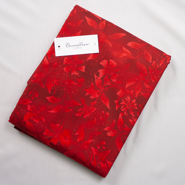 Boundless Quilter's Cotton Poinsettia (5y Bargain Cut) Fabric By The Yard
