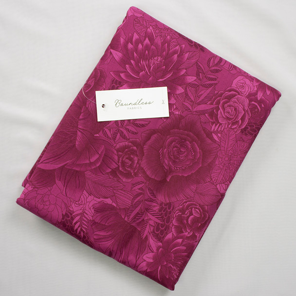 Boundless Quilter's Cotton Floral Collage Fuchsia (6y Bargain Cut) Fabric By The Yard