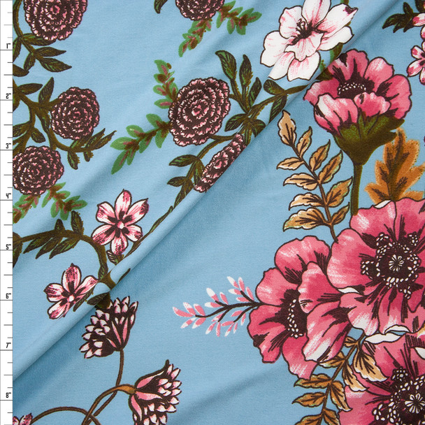 Pink, Green, and Tan Hibiscus Floral on Light Blue Double Brushed Poly/Spandex Knit Fabric By The Yard
