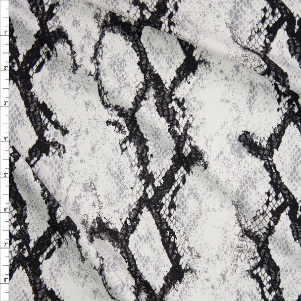 Black and White Snakeskin Double Bushed Poly/Spandex Fabric By The Yard