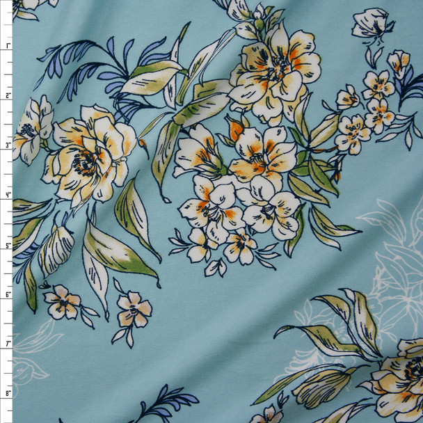 Scrolling Yellow and Green Floral on Aqua Double Bushed Poly/Spandex Fabric By The Yard
