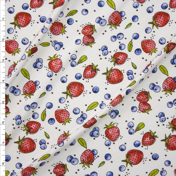 Strawberries and Blueberries on Warm White Designer Double Brushed Poly from Marketa Stengl Fabric By The Yard