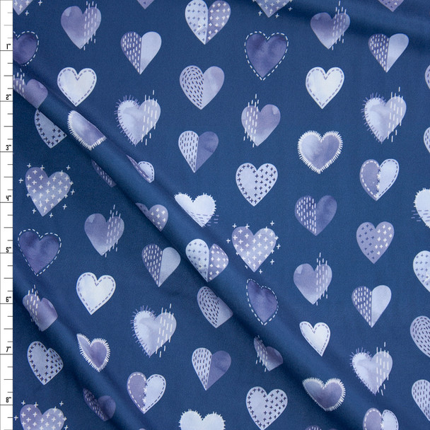 Blue Stitched up Hearts Designer Double Brushed Poly from Marketa Stengl Fabric By The Yard