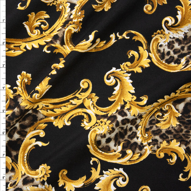 Cheetah and Gold Scrollwork on Black Double Bushed Poly/Spandex Fabric By The Yard