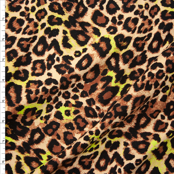 Tan and Yellow Cheetah Print Lightweight Designer Sweatshirt Fleece Fabric By The Yard