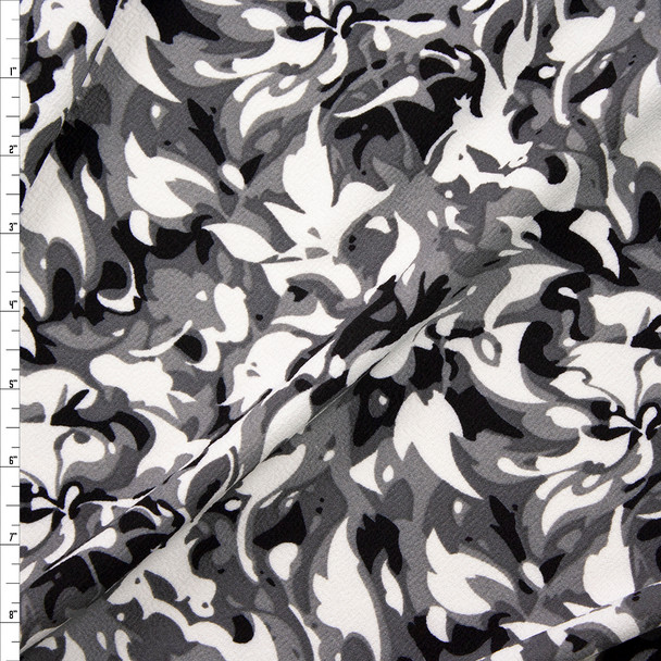 Black, Grey, and White Camo Flame Crepe Liverpool Knit Fabric By The Yard
