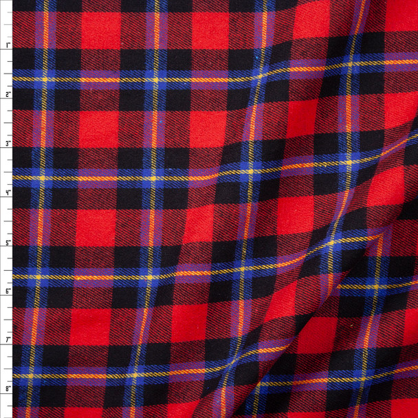 Red, Black, Blue, and Yellow Plaid Cotton Flannel Fabric By The Yard