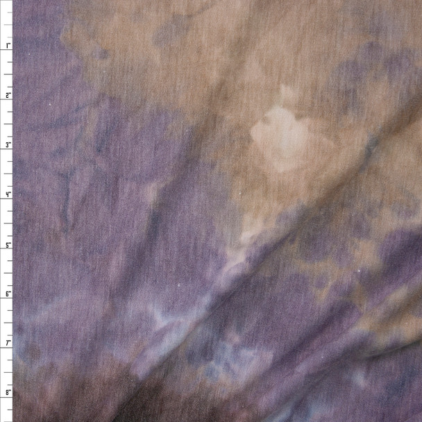 Dusty Lilac, Tan, and Brown Tie Dye Rayon French Terry Fabric By The Yard