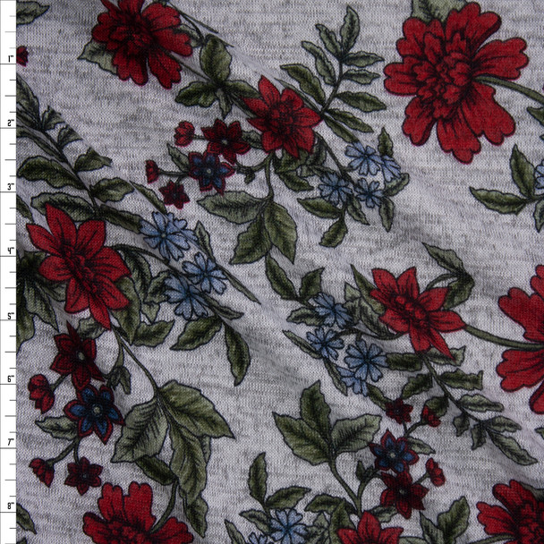 Burgundy, Sage, and Blue Floral on Heather Grey Brushed Hacci Knit Fabric By The Yard