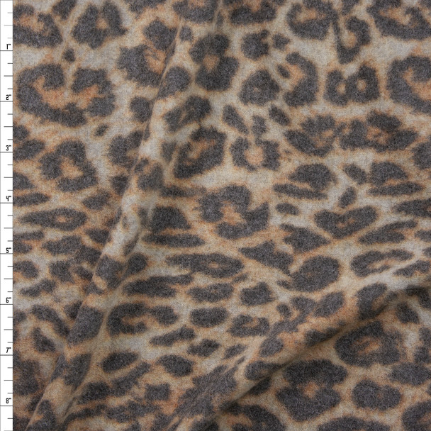 Tan and Grey Leopard Print Soft Brushed Stretch Sweater Knit Fabric By The Yard